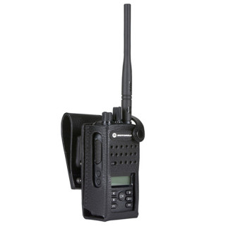 """PMLN5865 Pouzdro z tvrdé kůže pro radiostanice Motorola DP2600e / DP2600 a 3"""" opasek"""