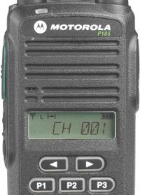 Motorola P185 - detail předního ovládacího panelu.
